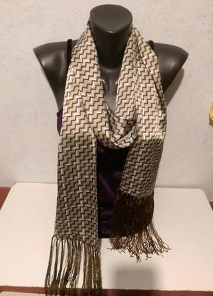 Двухслойный шарфик с бахромой,182*15
