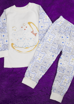 """80-86 см: детская теплая пижама """"мишки"""" (с начесом)"""