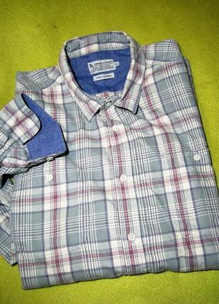 Теплая фланелевая рубашка в клетку обхват груди 130см.