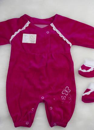 62 см: детский велюровый комбинезон человечек с вышивкой