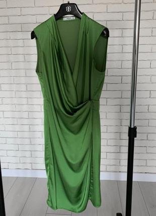 Атласное вечернее платье на запах от mango / сукня вечірня