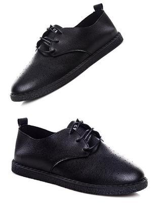 Черные туфли оксфорды на шнурках в дырочку экокожаные лето осень 38-39рр