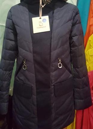 Синяя демисезонная куртка с капюшоном
