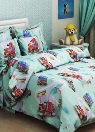 Постельное белье детское, постельное белье с машинкаи