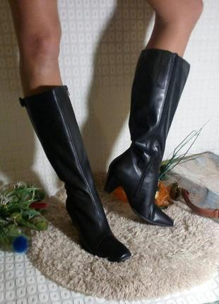 Кожаные ecco,оригинал. сапоги, удобний каблук. 42 размер