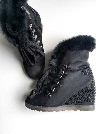 Ботинки сникерсы на танкетке зимние сапоги