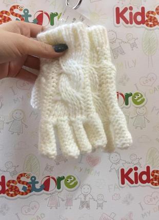 Вязаные белые перчатки для девочки, mothercare, 75458542