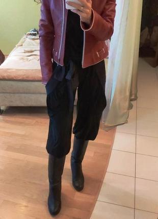 Женские штаны черные алладины брюки галифе высокая посадка с поясом бант