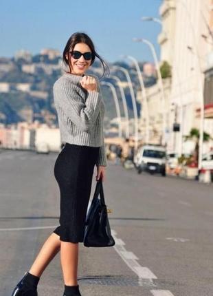 Черная юбка карандаш классика высокая осенняя плотна \ демисезонная на молнии с разрезом