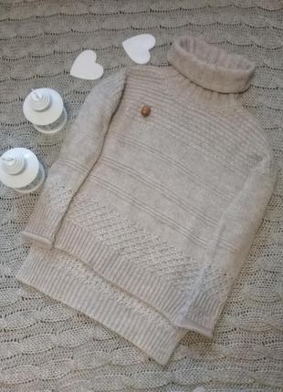 Теплый свитер горло шерсть  альпака oversize итальянский