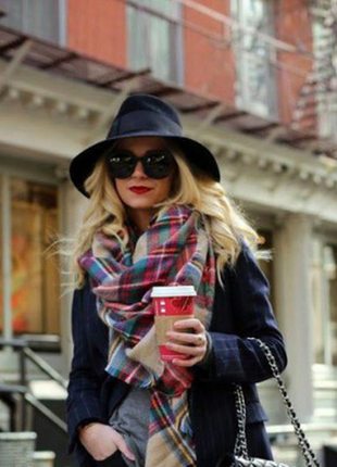 Палантин-накидка в клетку шаль шарф объемный массивный коричневый красный платок длинный