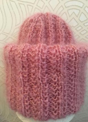 Шапка мохеровая розовая