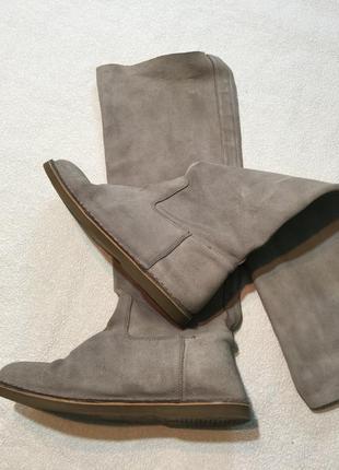 Серые кожаные ботфорты