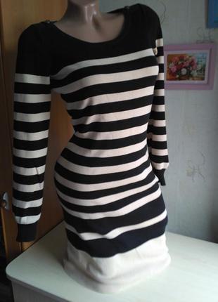 Классное модное платье в полоску тёплое трикотажное рубчик