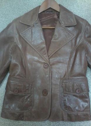 Пиджак кожаный (куртка) коричневый