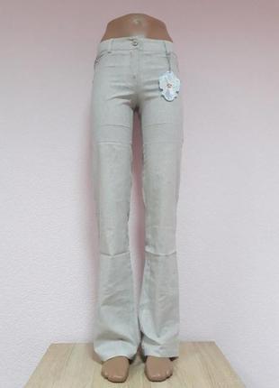 Льляные женские брюки, с ниткой люрекса, xs, s, m, l, xl, xxl,  маломерят.