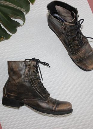 38,5 25,5см aldo кожаные ботинки в стиле милитари на шнуровке, берцы