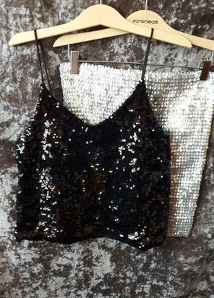 Блуза в пайетках amisu / клубная блуза /2я вещь в подарок
