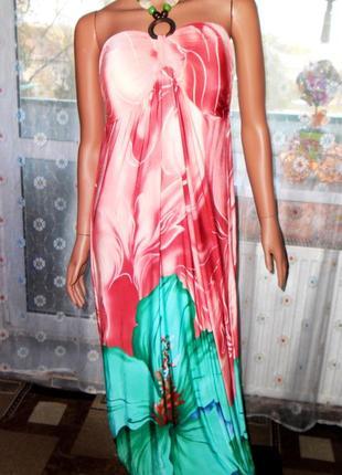 Нежное платье-бюстье в пол с завязкой-бусами на шее fashion