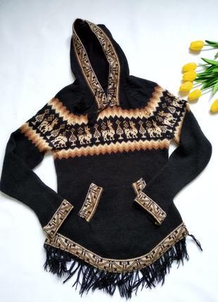 Шерстяной свитер кофта с капюшоном с орнаментом