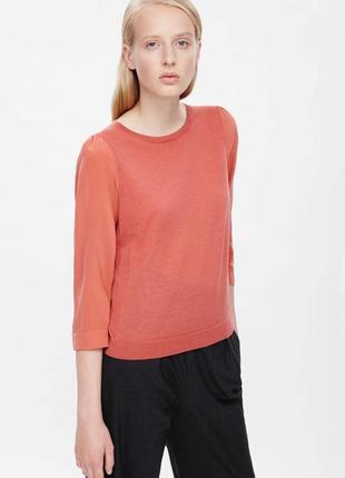 Блуза из шерсти мериноса с шелком cos s(165/88а) шерсть шелк меринос