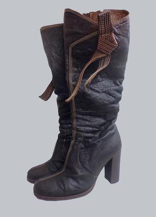 Сапоги коричневые tm medea_ сапоги на среднем каблуке.
