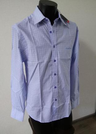 Рубашка рубаха  голубая в клетку pierre cardin размер м