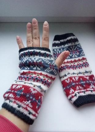 Митенки перчатки рукавицы флис