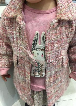 Очаровательное пальтишко h&m на малышку (74 рост) розовое пальто большемерит