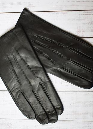 Мод2 перчатки мужские кожаные зимние с шерстяной подкладкой кожа кожанные черные вязка