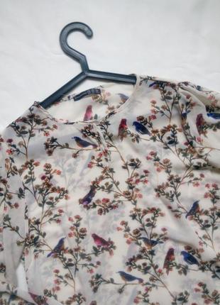 Легкая блуза с птичками и цветами2