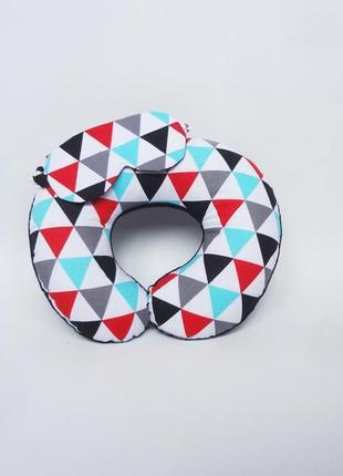 Двухсторонняя дорожная подушка на шею из плюша и хлопка - геометрия