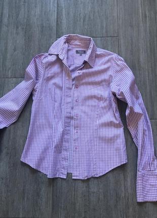 Рубашка классическая в клетку,приталенная размер s