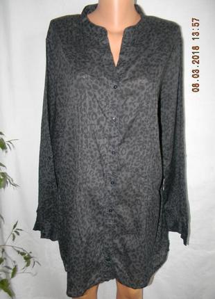 Натуральная блуза -рубашка с принтом большого размера