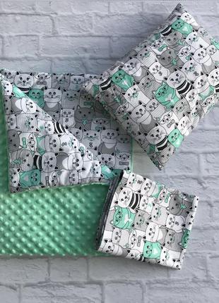 Набор 3в1, плед подушка и простынка