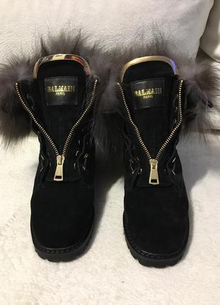 Натуральные замшевые зимние ботинки «balmain»,сапоги,сапожки мех 23см