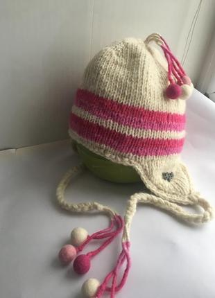 Шерстяная шапка шапочка , натуральная шерсть бежево розовая, непал