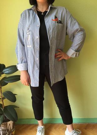 Рубашка оверсайз с вышивкой рубашка летняя