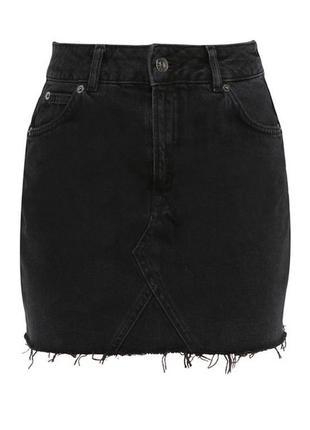 Джинсовая юбка/необработанный край/чёрная юбка/юбка topshop/юбка мини