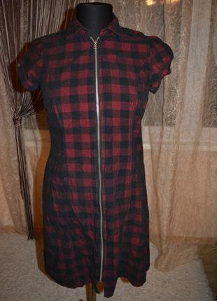 Вельветовое теплое стройнящее платье, рубашка, клетка, полоска