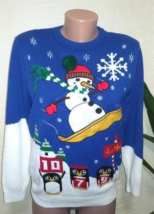Прикольный новогодний джемпер снеговик сноубордист next n size