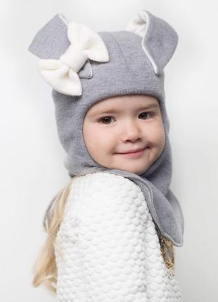 """Тёплая стильная зимняя шапка-шлем """"заяц"""" на девочку"""