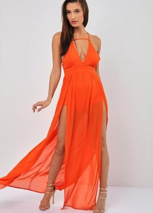 Оранжевое платье в пол выпускное вечернее на бретелях naanaa