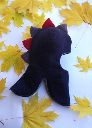 """Тёплая зимняя шапка-шлем """"дино"""" для мальчика"""