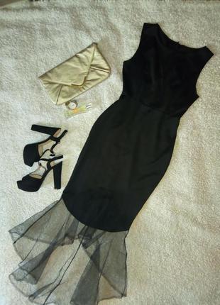 Черное платье рыбка низ фатин платье по фигуре