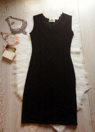Черное ажурное платье короткое миди в обтяжку по фигуре нарядное вечернее праздничное