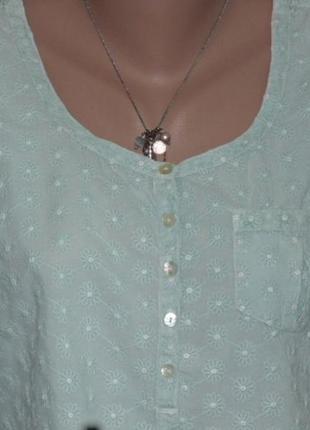 Нежно-зеленая блузочка с прошвой4
