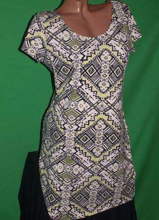 Отличное мягкое платье (л замеры) 95% котон, с узором, отлично смотрится