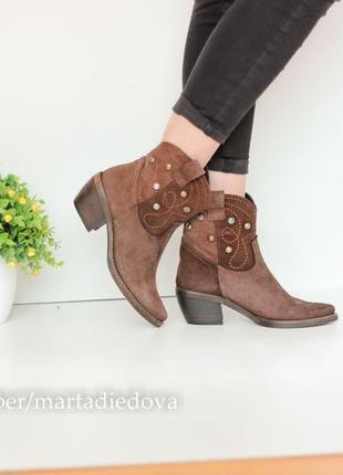 Замшевые кожаные ботинки полусапожки козачки,натуральная кожа,бренд vera gomma италия