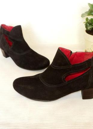 Стильные  ботиночки- ботильоны, кожа-нубук, 37-38 р (24,7 см)